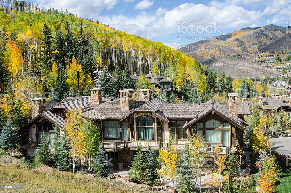 Chalets in Vail, Colorado stock photo