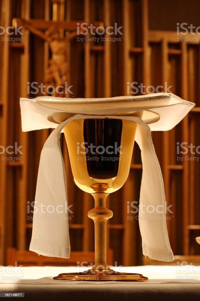 Chalice and Crucifix stock photo