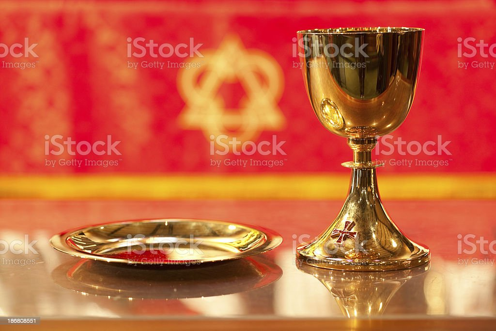 Chalice and Plate Close Up stock photo