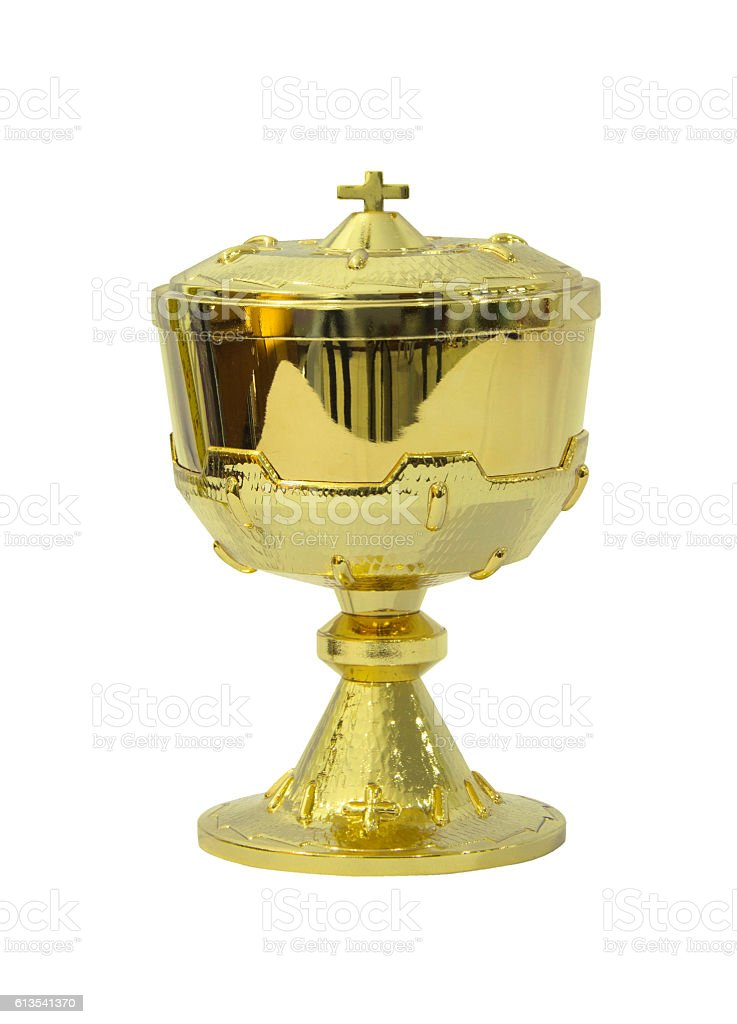 Chalice Eucharist on white background stock photo