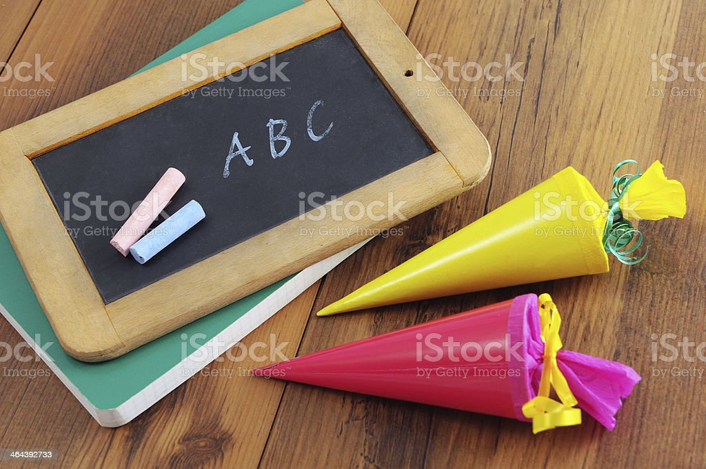 chalk ABC letters blackboard with Conical bag royalty-free stock photo