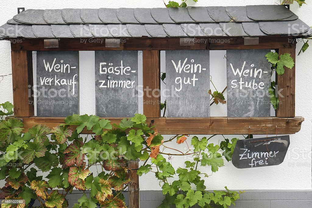 Chalk board sign seen along the River Rhine in Germany stock photo