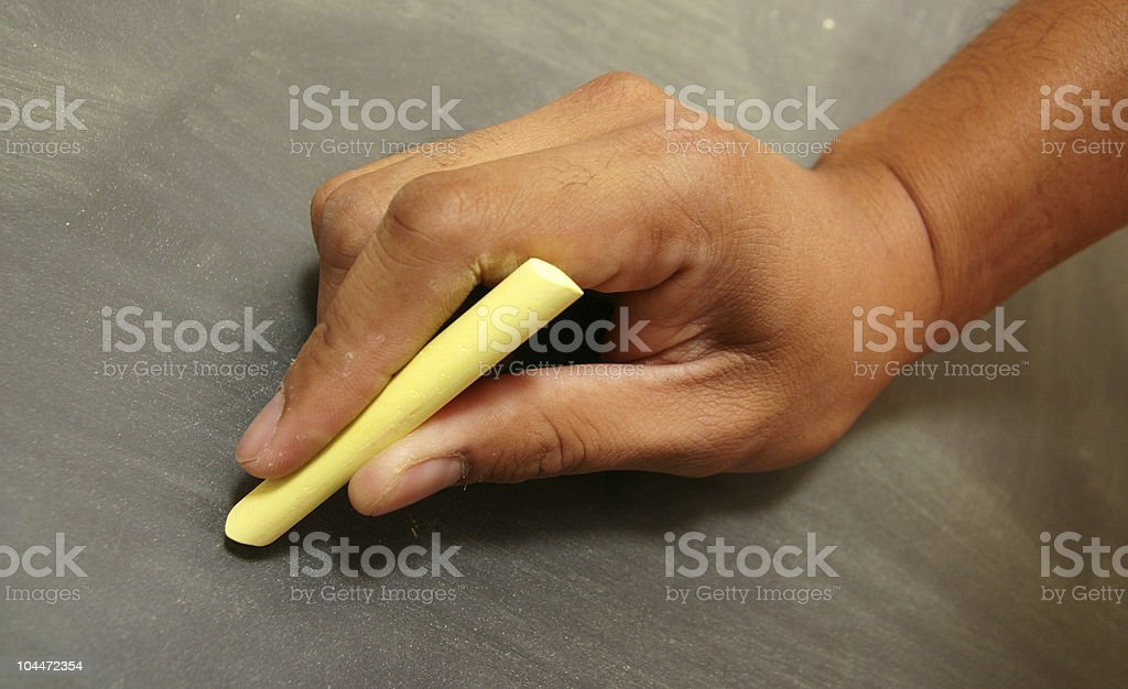 Chalk Board with Hand royalty-free stock photo