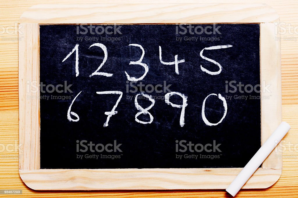 Chalk Board with numbers stock photo