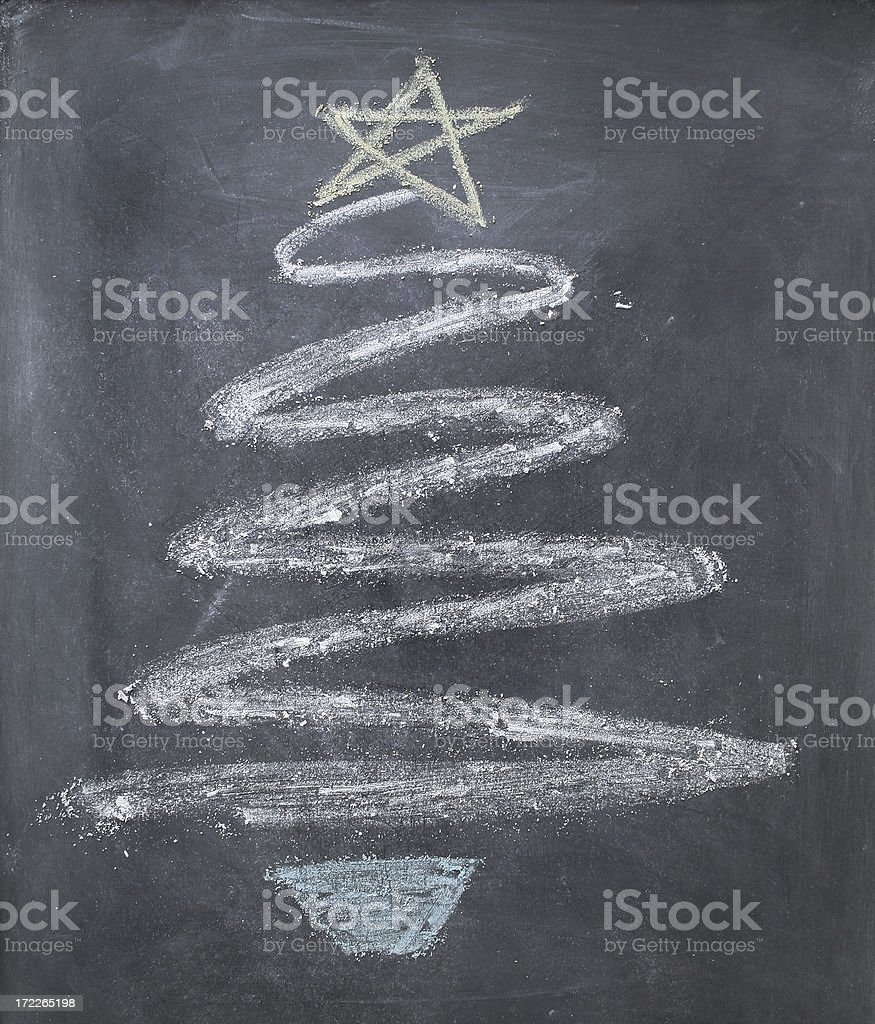 Chalk Christmas Tree royalty-free stock photo