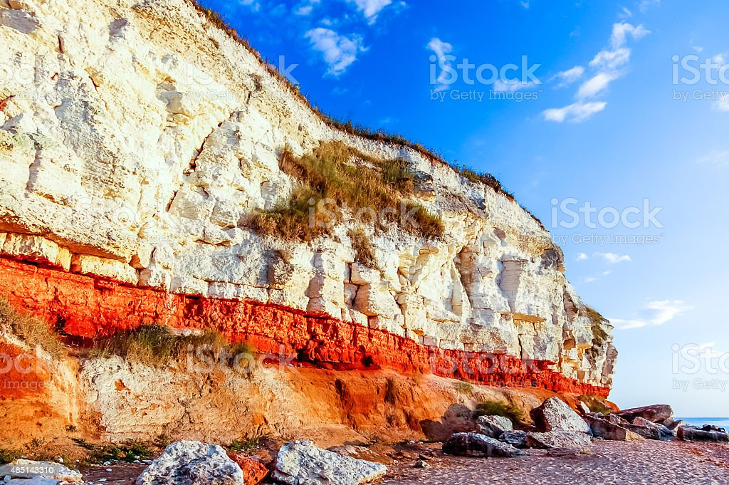 Chalk cliff at beach, Old Hunstanton, Norfolk, England stock photo