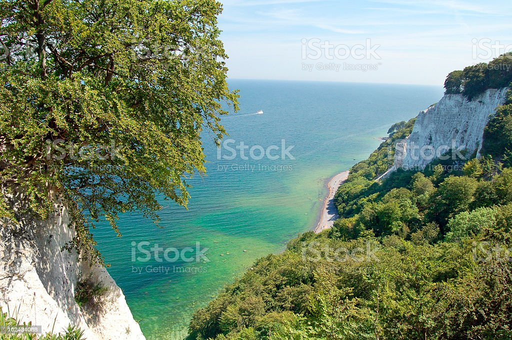 Chalk cliff on rugen island (Germany) stock photo