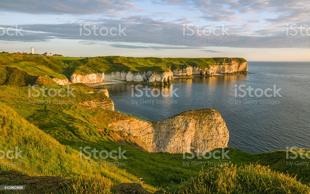 Chalk cliffs and North Sea at dawn, Flamborough, Yorkshire, UK. stock photo