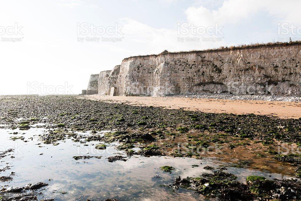 Chalk cliffs at Joss Bay beach in Kent, England stock photo