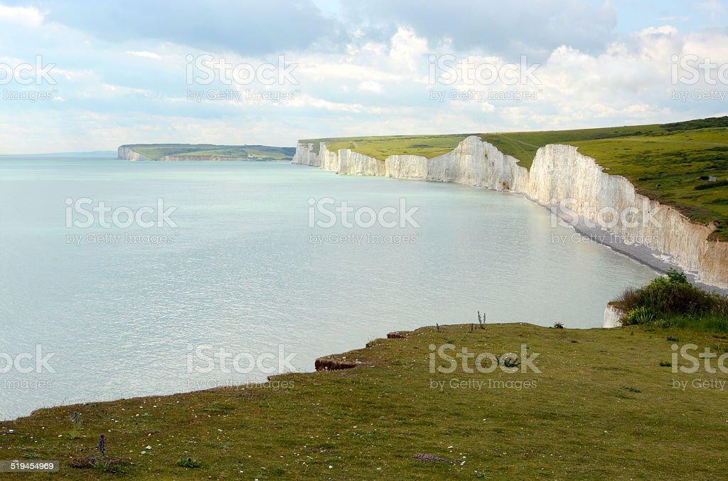 Chalk Cliffs in Sussex. England stock photo