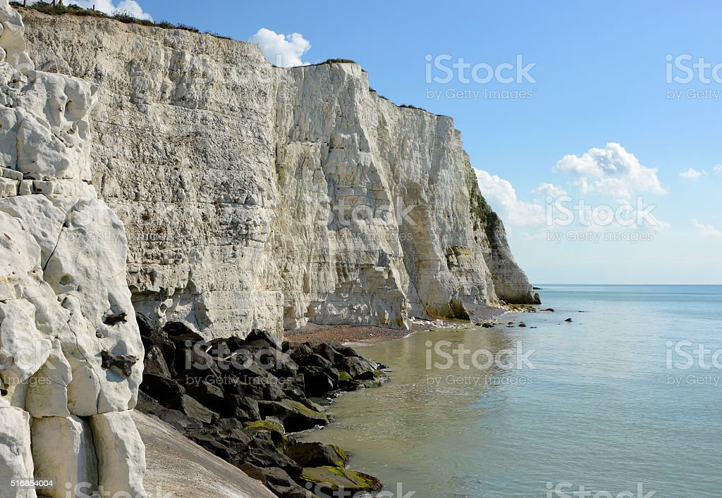 Chalk cliffs near Brighton, England stock photo