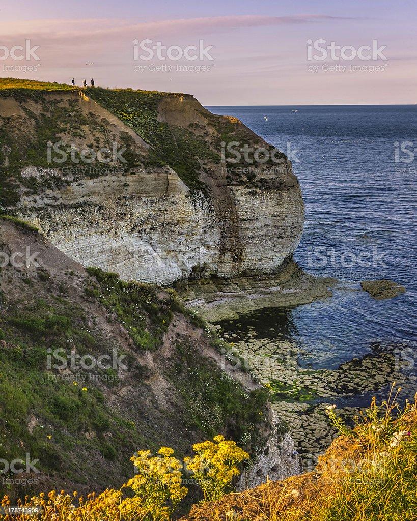 Chalk cliffs & North Sea, Flamborough Head, Yorkshire, UK royalty-free stock photo