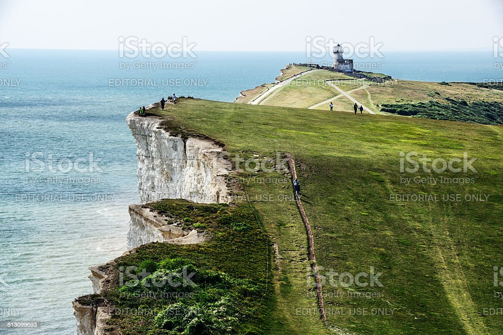 Chalk cliffs, sea, and Belle Toute Lighthouse stock photo