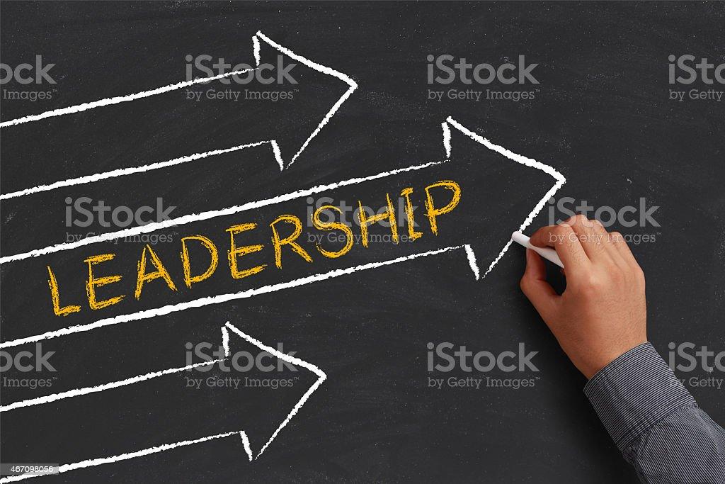 A chalk diagram of a leadership concept stock photo