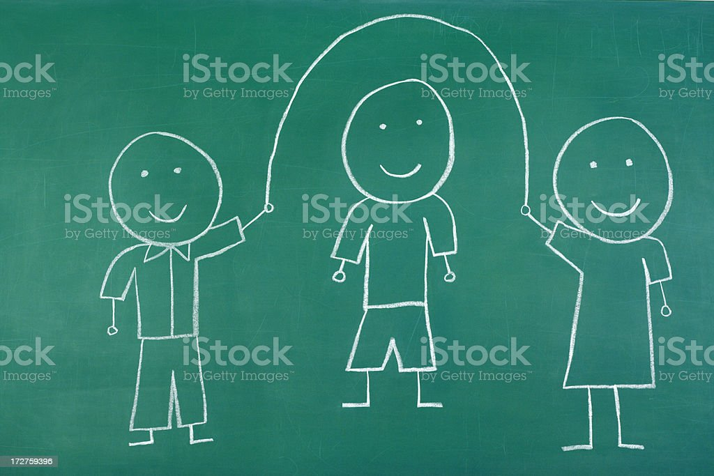 Chalk Drawing Active Happy Children royalty-free stock photo