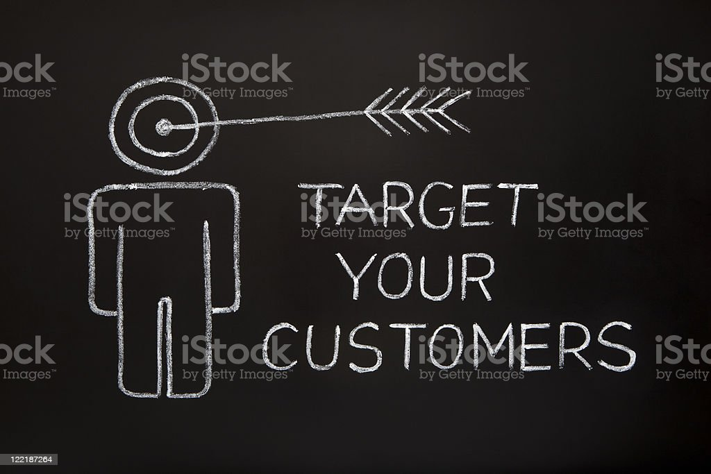 A chalk drawing conveying the Target Your Customers idea stock photo