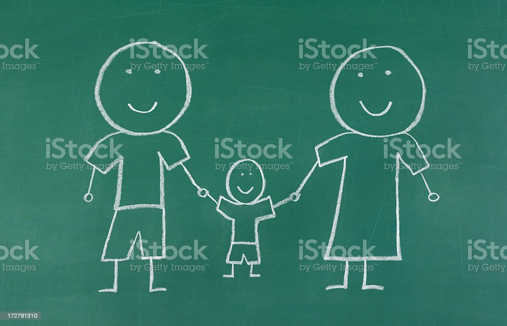 Chalk drawing  of Happy Family royalty-free stock photo