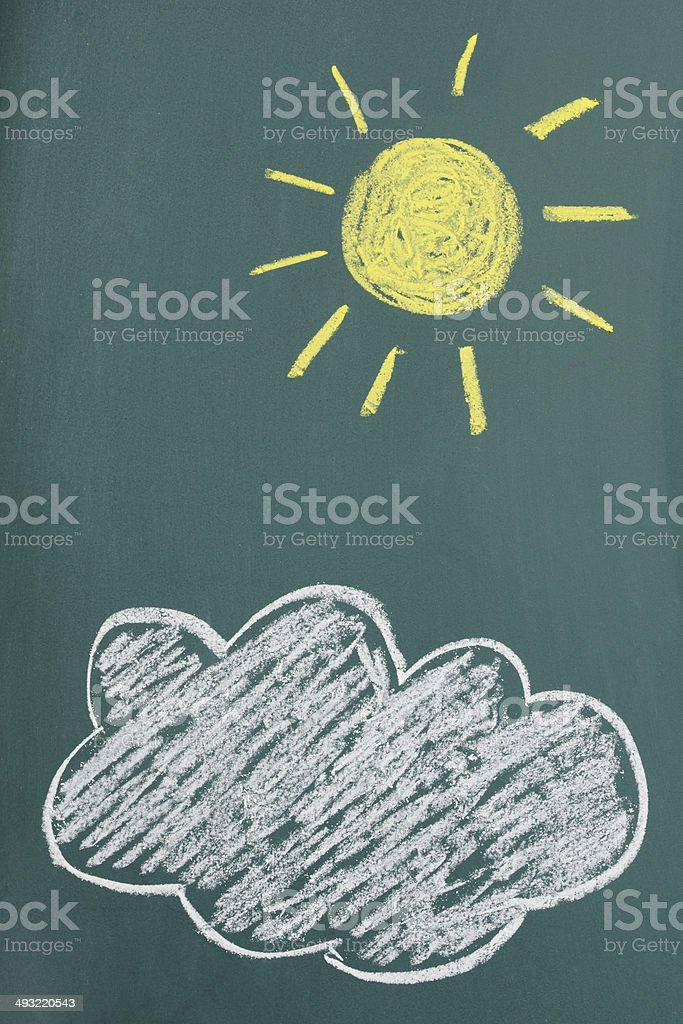 Chalk drawing of Sun and Cloud with blackboard stock photo