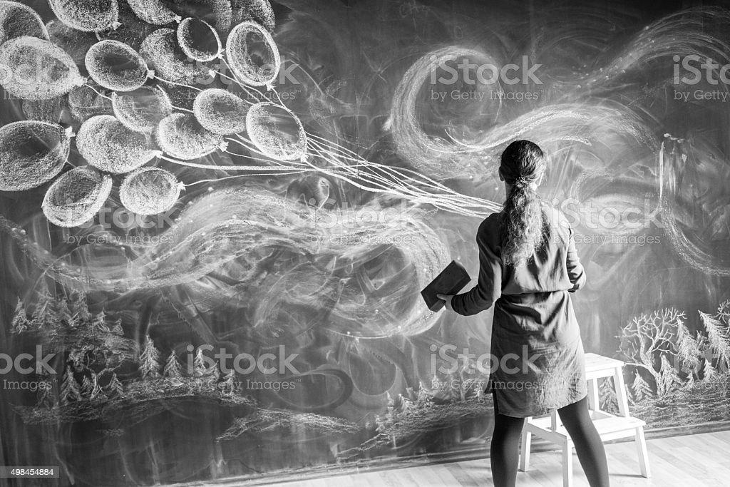 Chalk Drawing On Blackboard stock photo