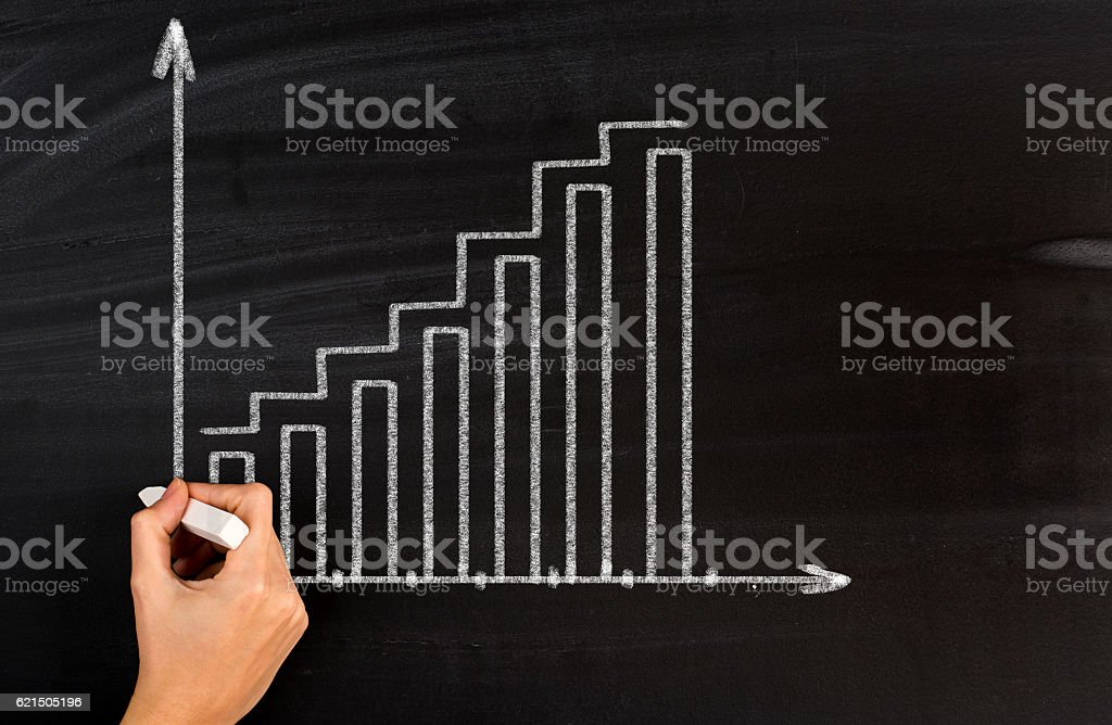 Chalk drawing positive graph stock photo
