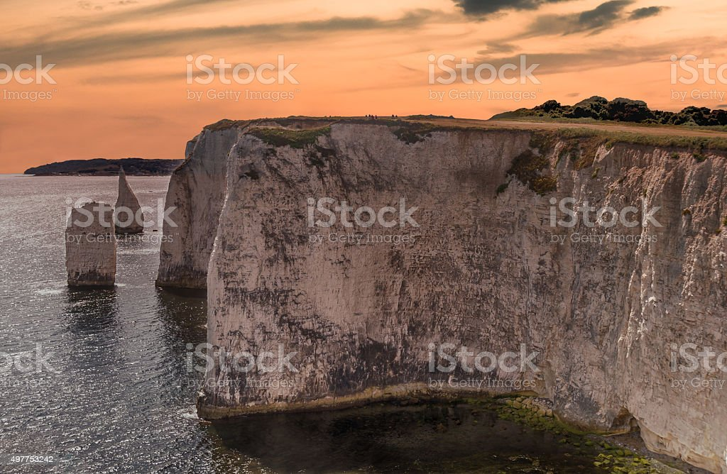 Chalk formation Old Harry Rocks in sunset in Dorset stock photo