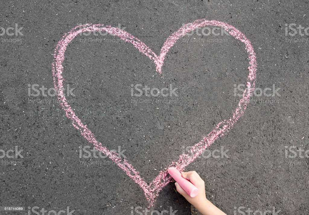 chalk heart stock photo