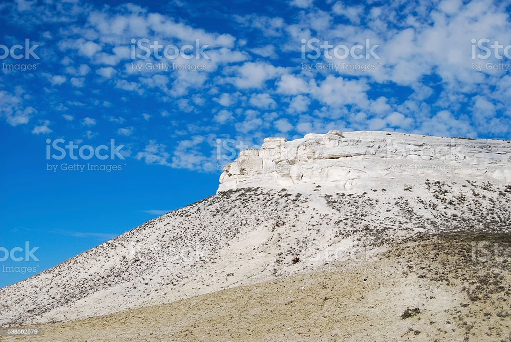 Chalk mountains (hills) in the Volgograd region of Russia stock photo