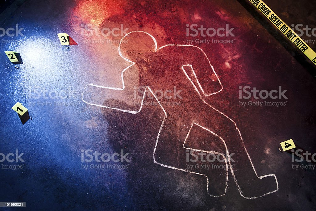 Chalk outline at a crime scene stock photo
