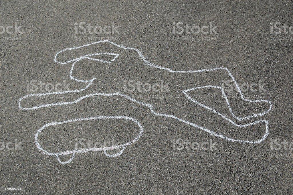 Chalk outline of dead skateboarder royalty-free stock photo