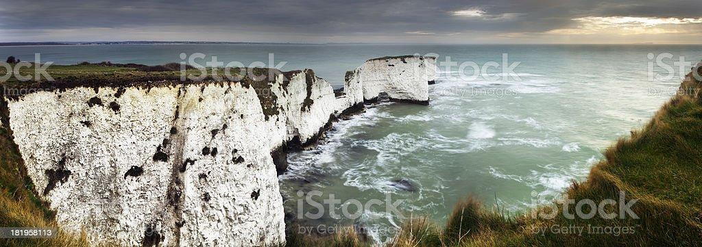 Chalk sea stacks stock photo