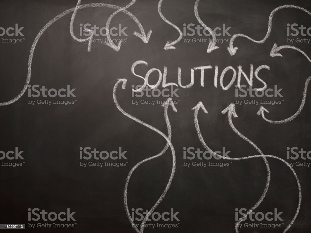 Chalk Solutions on a Blackboard royalty-free stock photo