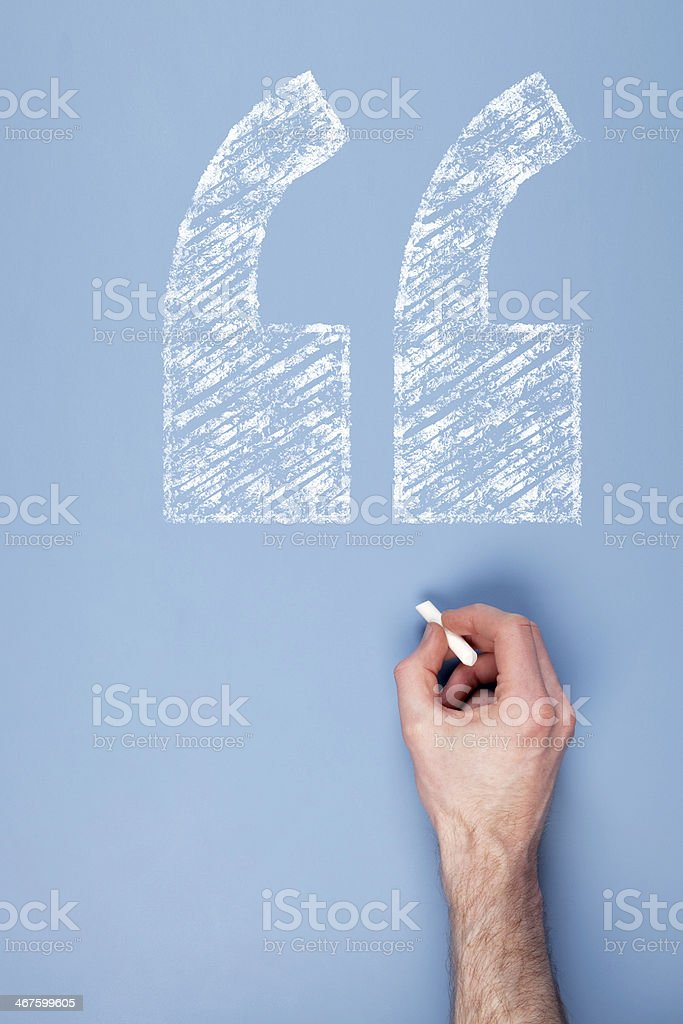 Chalk speech mark stock photo