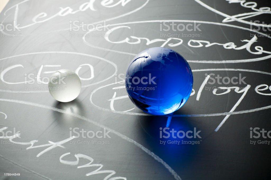 Chalk writing and glass globe stock photo