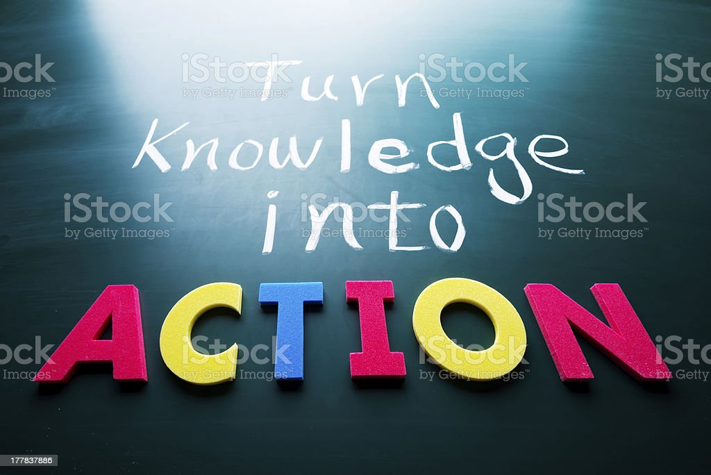 Chalk written turn knowledge into above multicolored action stock photo