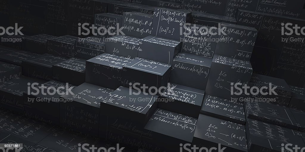 Chalkboard blocks on various levels with math formulas stock photo