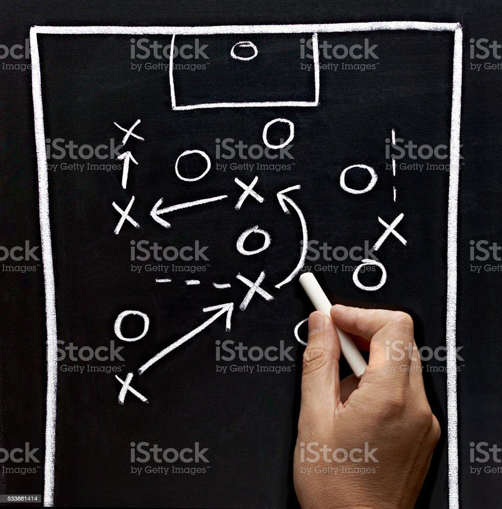 chalkboard classroom soccer tactics team sport coach stock photo