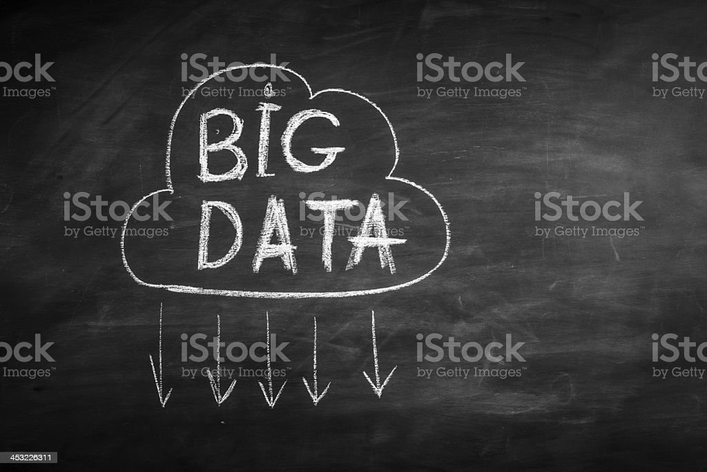 Chalkboard drawing of big data written in a cloud stock photo