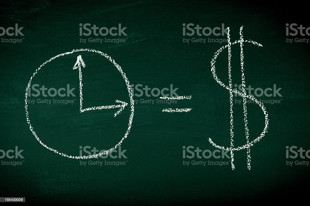 A chalkboard drawing of time equaling money stock photo