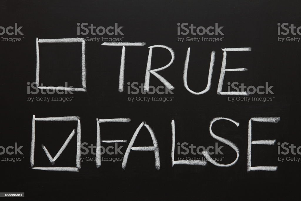 Chalkboard drawing of true and false with checkboxes royalty-free stock photo