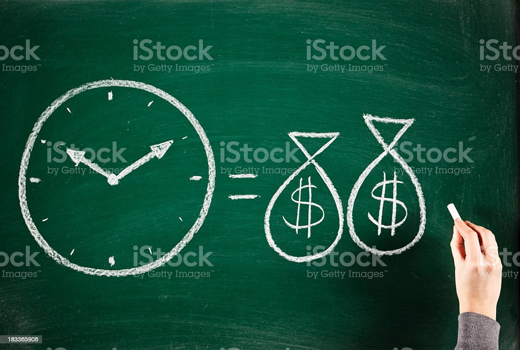 Chalkboard drawing - time is money stock photo