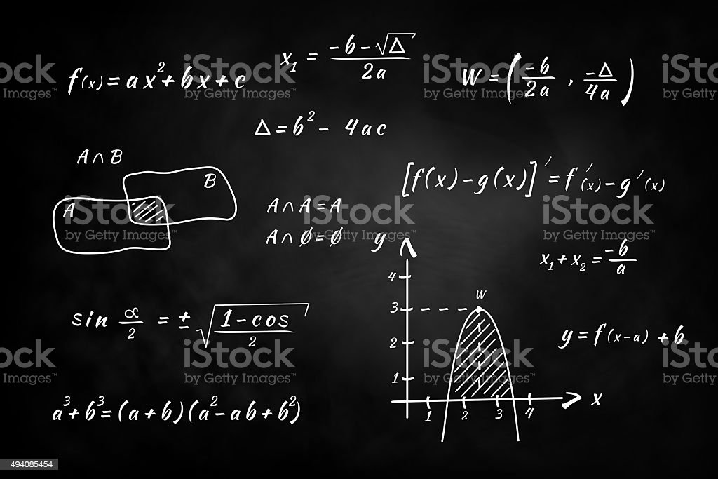 Chalkboard, hand writing and solving math problems stock photo