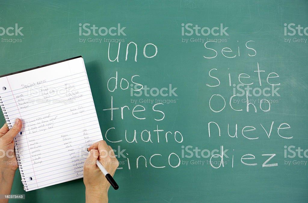 Chalkboard in Spanish Class royalty-free stock photo