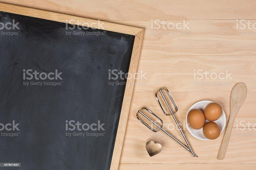 chalkboard on kitchen table stock photo