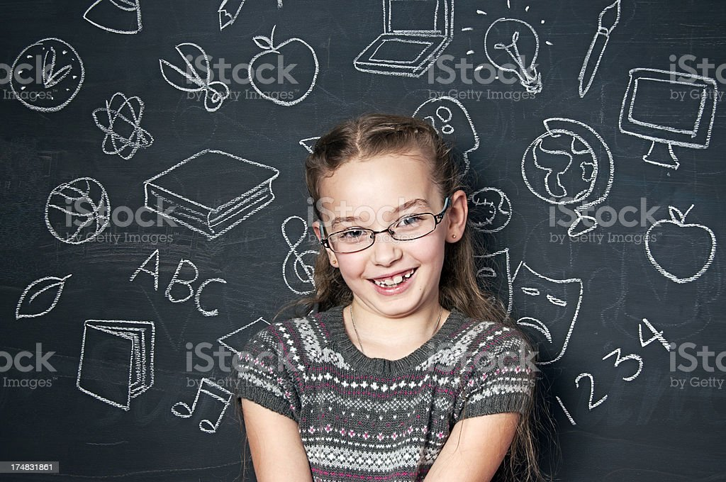 Chalkboard, Smiling Girl royalty-free stock photo