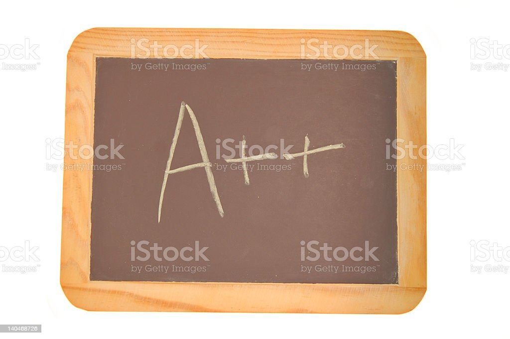 Chalkboard with an double A plus written on it royalty-free stock photo