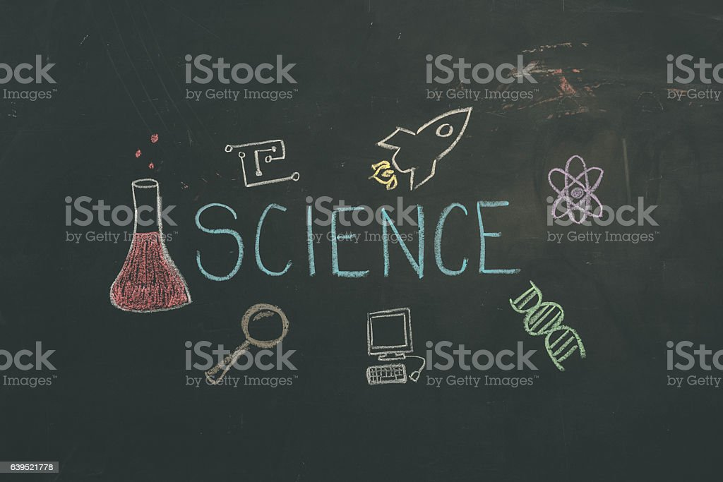 Chalkboard with an illustration accompanied by SCIENCE text stock photo