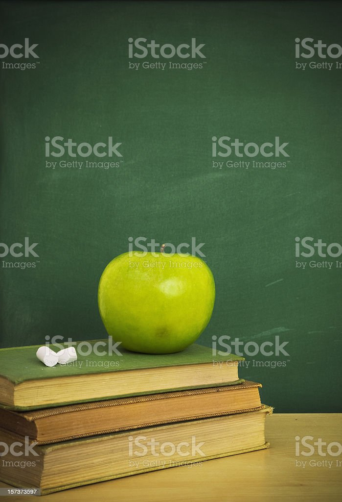 Chalkboard with book royalty-free stock photo