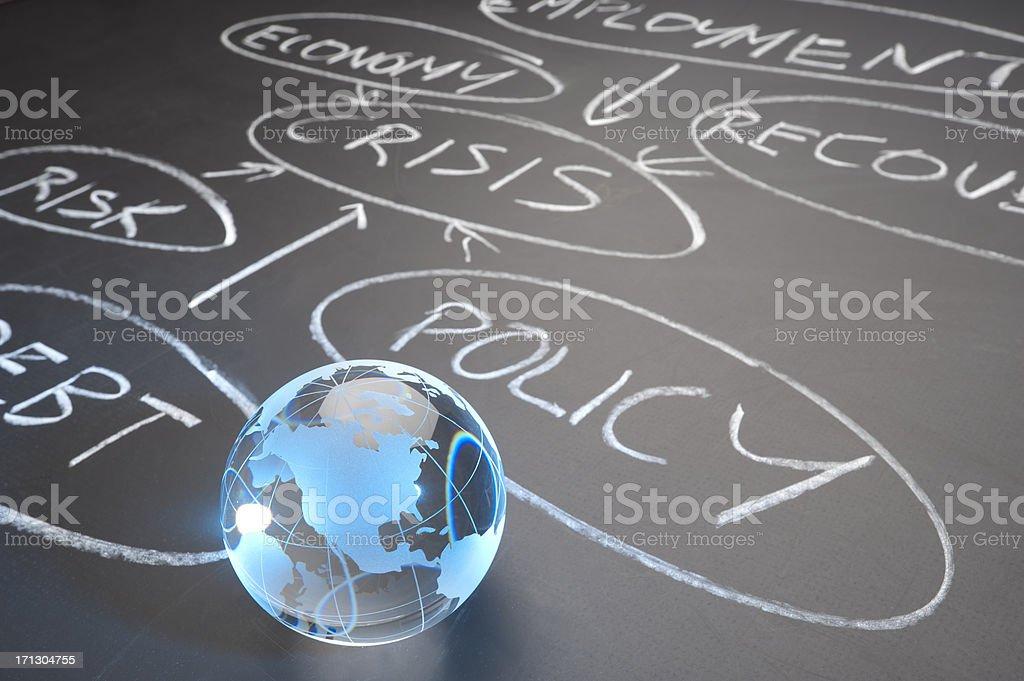 Chalkboard with flowchart written and clip art globe stock photo