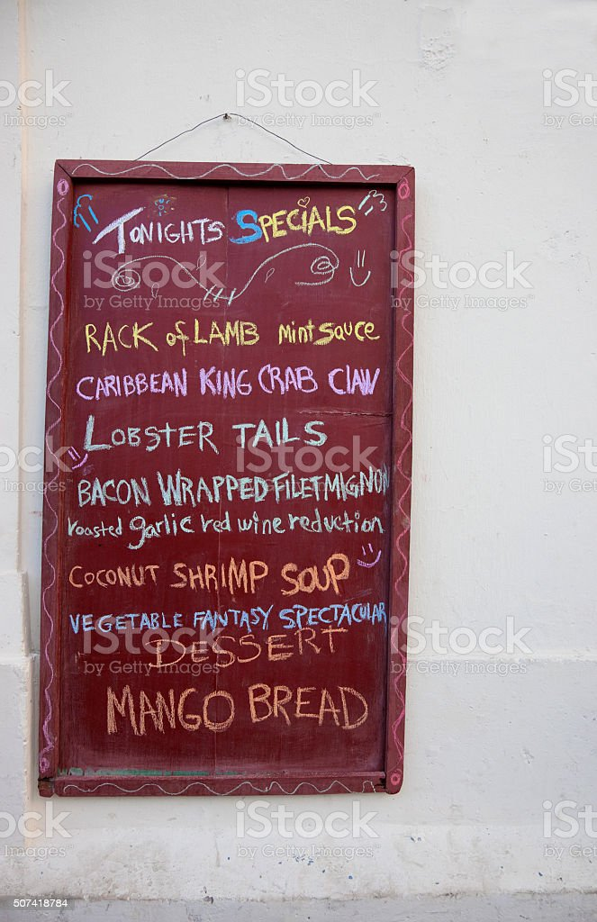 Chalkboard with gourmet menu in Nicaragua stock photo
