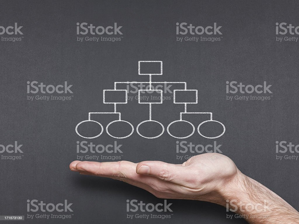chalkboard with hand and business related diagram stock photo